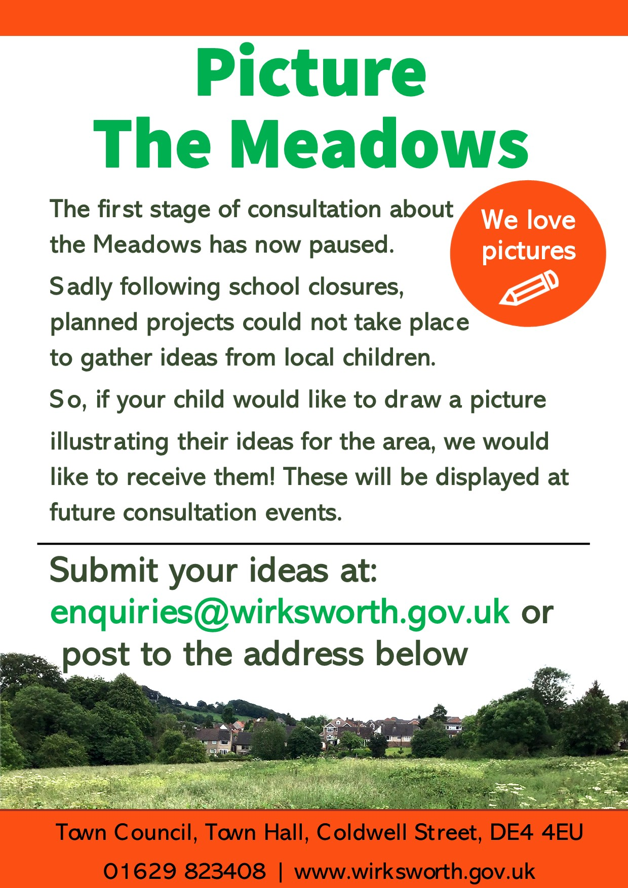 Poster asking children for Meadows deisgns